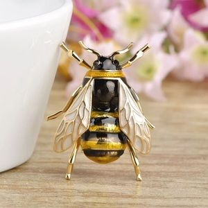 Jewelry - Yellow-Black Enamel Bee Fly Brooch